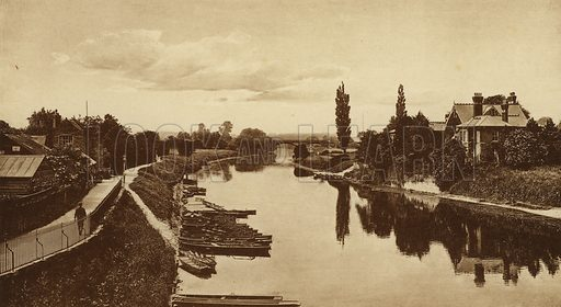River Wye from the Bridge, Hereford. Illustration for Souvenir of Hereford (np, c 1910).  Gravure printed.