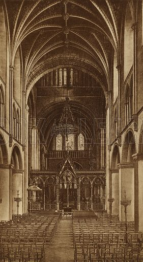 Hereford Cathedral, Nave East. Illustration for Souvenir of Hereford (np, c 1910).  Gravure printed.