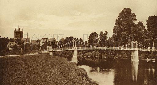 Victoria Suspension Bridge, Hereford. Illustration for Souvenir of Hereford (np, c 1910).  Gravure printed.