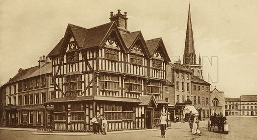 The Old House, Hereford. Illustration for Souvenir of Hereford (np, c 1910).  Gravure printed.