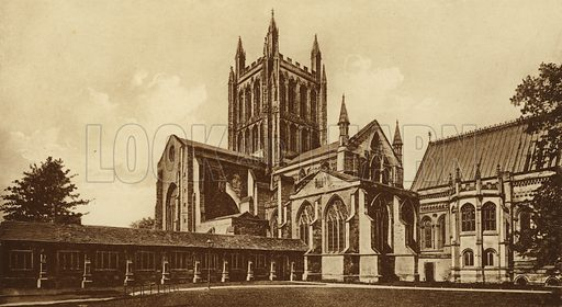 Hereford Cathedral, South East. Illustration for Souvenir of Hereford (np, c 1910).  Gravure printed.