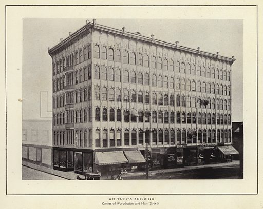 Whitney's Building. Corner of Worthington and Main Streets. Illustration for Springfield, The City of Homes (L H Nelson, c 1900).