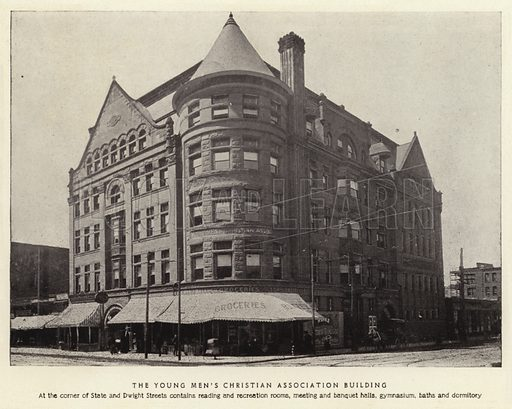The Young Men's Christian Association Building. At the corner of State and Dwight Streets contains reading and recreation rooms, meeting and banquet halls, gymnasium, baths and dormitory. Illustration for Springfield, The City of Homes (L H Nelson, c 1900).