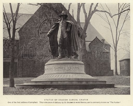 """Statue of Deacon Samuel Chapin. One of the first settlers of Springfield. This noble piece of statuary by St Gaudens is world famous, and is commonly known as """"The Puritan."""" Illustration for Springfield, The City of Homes (L H Nelson, c 1900)."""