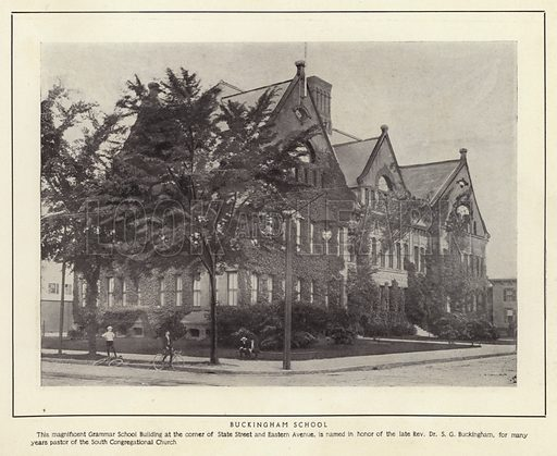 Buckingham School. This magnificent Grammar School Building at the corner of State Street and Eastern Avenue, is named in honor of the late Rev Dr S G Buckingham, for many years pastor of the South Congregational Church. Illustration for Springfield, The City of Homes (L H Nelson, c 1900).