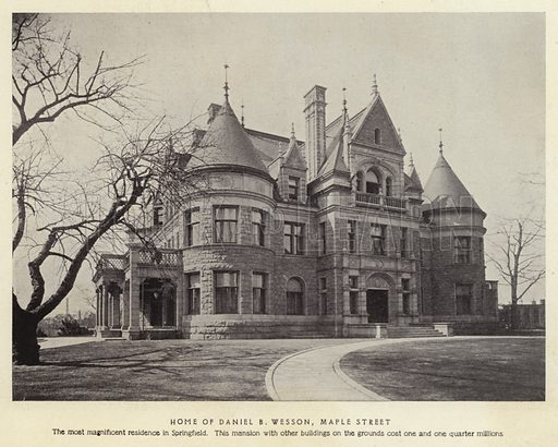 Home of Daniel B Wesson, Maple Street. The most magnificent residence in Springfield. This mansion with other buildings on the grounds cost one and one quarter millions. Illustration for Springfield, The City of Homes (L H Nelson, c 1900).