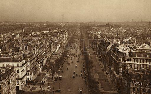 Avenue des Champs-Elysees. Illustration for souvenir booklet, Les petit tableaux de Paris (Mona, c 1910).  Gravure-printed.