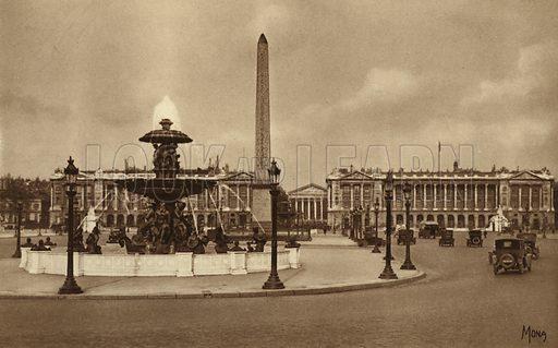 Place de la Concorde. Illustration for souvenir booklet, Les petit tableaux de Paris (Mona, c 1910).  Gravure-printed.
