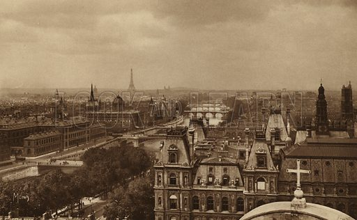 Perspective sur la Seine. Illustration for souvenir booklet, Les petit tableaux de Paris (Mona, c 1910).  Gravure-printed.