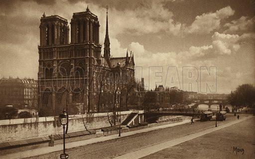 Notre-Dame. Illustration for souvenir booklet, Les petit tableaux de Paris (Mona, c 1910).  Gravure-printed.
