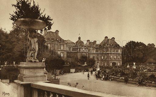 Le Luxembourg. Illustration for souvenir booklet, Les petit tableaux de Paris (Mona, c 1910).  Gravure-printed.