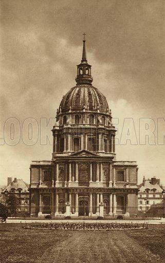 Eglise et Dome des Invalides. Illustration for souvenir booklet, Les petit tableaux de Paris (Mona, c 1910).  Gravure-printed.