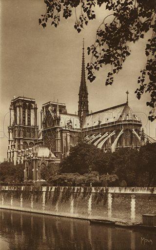 Cathedrale Notre-Dame. Illustration for souvenir booklet, Les petit tableaux de Paris (Mona, c 1910).  Gravure-printed.