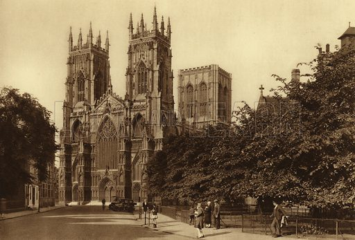 The Minster, West Front. Illustration for Royal and Ancient York (Walter Scott, Bradford, c 1910).  Gravure printed.