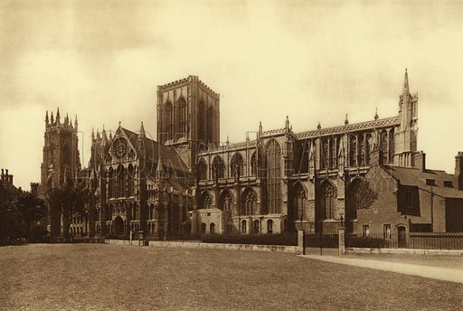 The Minster, from SE. Illustration for Royal and Ancient York (Walter Scott, Bradford, c 1910).  Gravure printed.