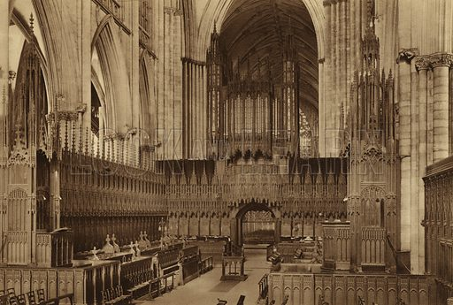 The Minster, Choir looking West. Illustration for Royal and Ancient York (Walter Scott, Bradford, c 1910).  Gravure printed.