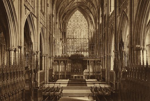 The Minster, Choir and Great East Window. Illustration for Royal and Ancient York (Walter Scott, Bradford, c 1910).  Gravure printed.