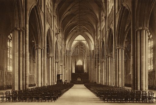 The Minster, Nave looking East. Illustration for Royal and Ancient York (Walter Scott, Bradford, c 1910).  Gravure printed.