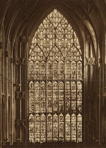 The Minster, The Great East Window. Illustration for Royal and Ancient York (Walter Scott, Bradford, c 1910).  Gravure printed.