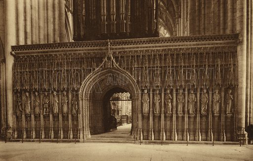 The Minster, the Choir Screen. Illustration for Royal and Ancient York (Walter Scott, Bradford, c 1910).  Gravure printed.