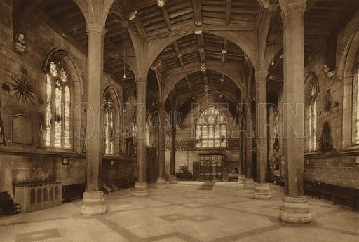 The Guildhall. Illustration for Royal and Ancient York (Walter Scott, Bradford, c 1910).  Gravure printed.