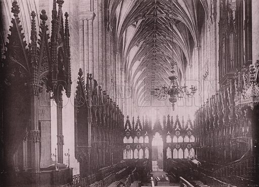 Choir and Nave, looking West, Winchester Cathedral. Illustration for Grand Collotype Album of Winchester and District (Payne and Watson, c 1890).  Photos supplied by Valentine & Sons.