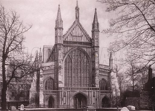 Winchester Cathedral, West Front. Illustration for Grand Collotype Album of Winchester and District (Payne and Watson, c 1890).  Photos supplied by Valentine & Sons.