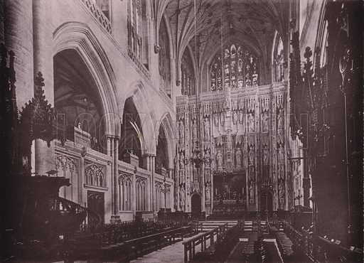 Choir East, Winchester Cathedral. Illustration for Grand Collotype Album of Winchester and District (Payne and Watson, c 1890).  Photos supplied by Valentine & Sons.