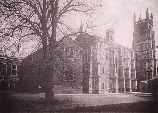 Winchester College and Chapel. Illustration for Grand Collotype Album of Winchester and District (Payne and Watson, c 1890).  Photos supplied by Valentine & Sons.