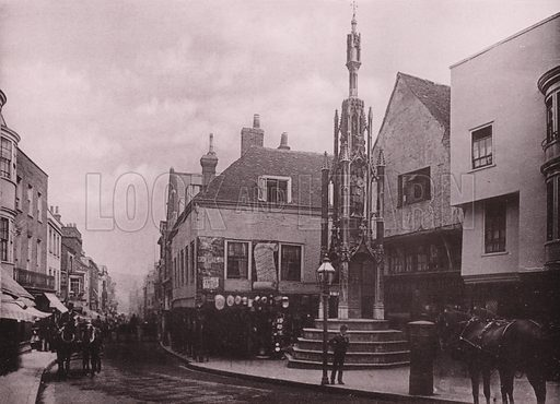 City Cross and High Street. Illustration for Grand Collotype Album of Winchester and District (Payne and Watson, c 1890).  Photos supplied by Valentine & Sons.