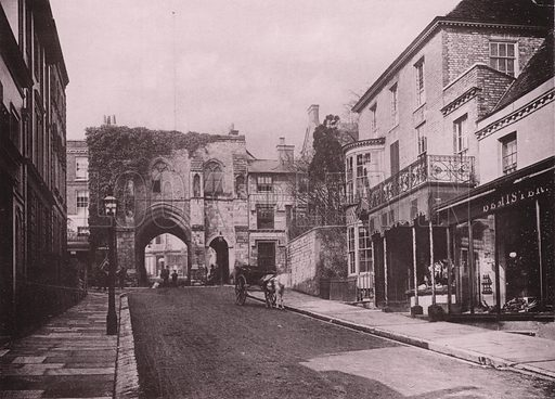 The West Gate. Illustration for Grand Collotype Album of Winchester and District (Payne and Watson, c 1890).  Photos supplied by Valentine & Sons.