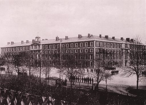 Winchester Barracks. Illustration for Grand Collotype Album of Winchester and District (Payne and Watson, c 1890).  Photos supplied by Valentine & Sons.