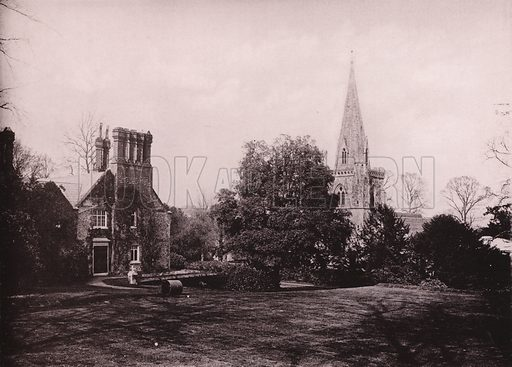Hursley Church and Vicarage. Illustration for Grand Collotype Album of Winchester and District (Payne and Watson, c 1890).  Photos supplied by Valentine & Sons.