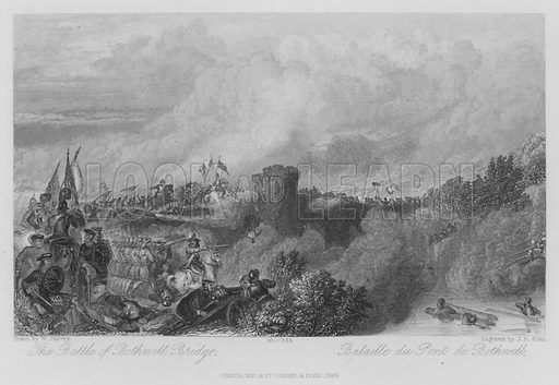 The Battle of Bothwell Bridge. Illustration for unidentified edition of the Waverely Novels of Sir Walter Scott.