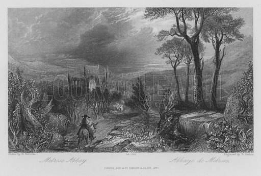 Melrose Abbey. Illustration for unidentified edition of the Waverely Novels of Sir Walter Scott.