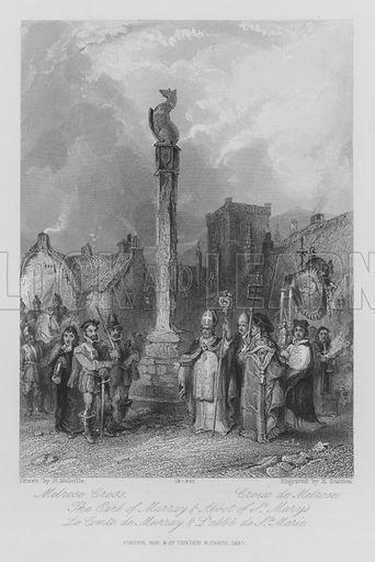 Melrose Cross, The Earl of Murray and Abbot of St Mary's. Illustration for unidentified edition of the Waverely Novels of Sir Walter Scott.