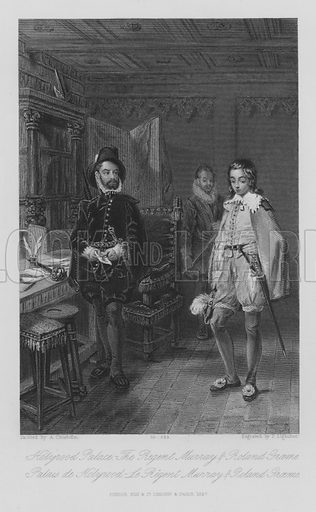Holyrood Palace, The Regent Murray and Roland Graeme. Illustration for unidentified edition of the Waverely Novels of Sir Walter Scott.