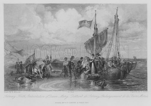Solway Frith, Embarkation of Queen Mary. Illustration for unidentified edition of the Waverely Novels of Sir Walter Scott.