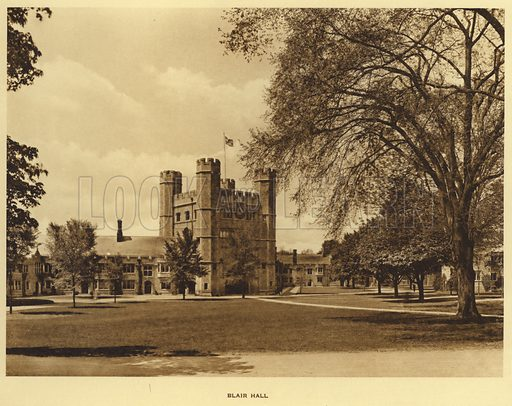 Blair Hall. Illustration for a booklet on Princeton University (Princeton University Store, c 1915).  Gravure printed.