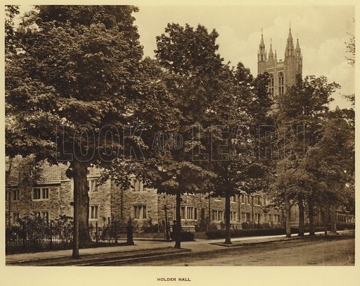 Holder Hall. Illustration for a booklet on Princeton University (Princeton University Store, c 1915).  Gravure printed.