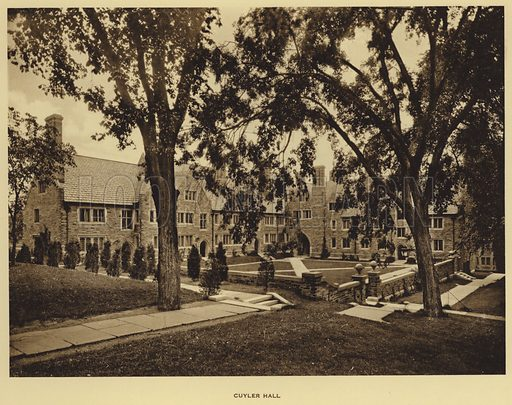 Cuyler Hall. Illustration for a booklet on Princeton University (Princeton University Store, c 1915).  Gravure printed.