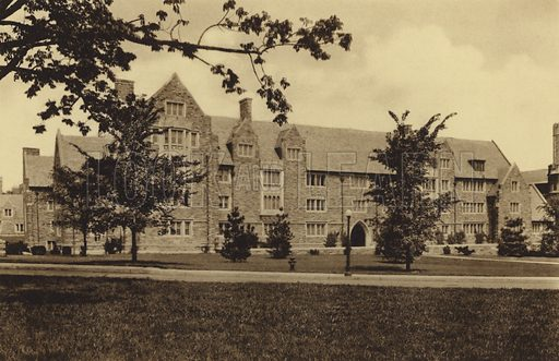 Pyne Hall. Illustration for a booklet on Princeton University (Princeton University Store, c 1915).  Gravure printed.