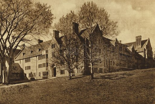 1903 Dormitory. Illustration for a booklet on Princeton University (Princeton University Store, c 1915).  Gravure printed.