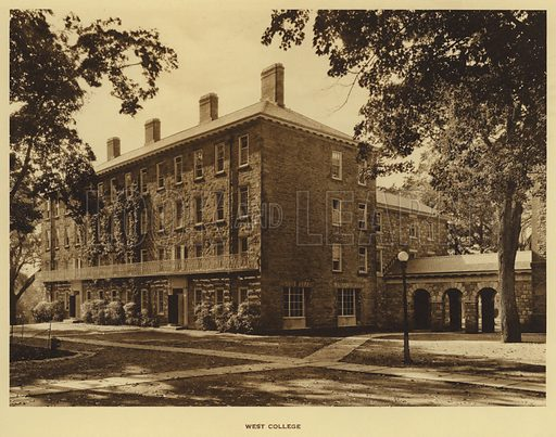 West College. Illustration for a booklet on Princeton University (Princeton University Store, c 1915).  Gravure printed.