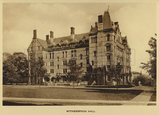 Witherspoon Hall. Illustration for a booklet on Princeton University (Princeton University Store, c 1915).  Gravure printed.