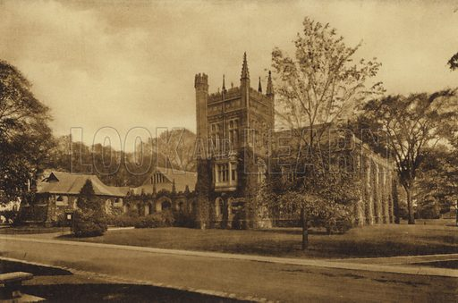 Murray-Dodge Hall. Illustration for a booklet on Princeton University (Princeton University Store, c 1915).  Gravure printed.