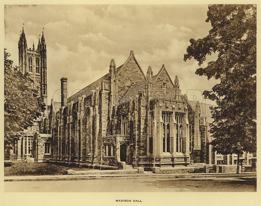 Madison Hall. Illustration for a booklet on Princeton University (Princeton University Store, c 1915).  Gravure printed.