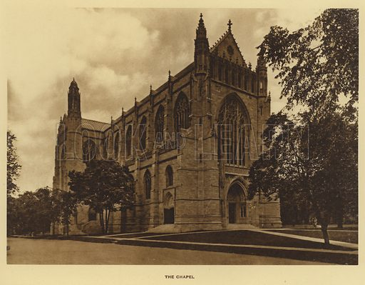 The Chapel. Illustration for a booklet on Princeton University (Princeton University Store, c 1915).  Gravure printed.