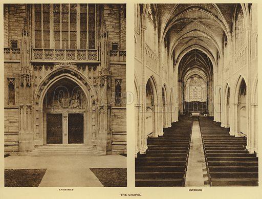 The Chapel, entrance, interior. Illustration for a booklet on Princeton University (Princeton University Store, c 1915).  Gravure printed.