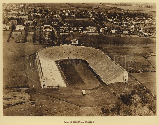 Palmer Memorial Stadium. Illustration for a booklet on Princeton University (Princeton University Store, c 1915).  Gravure printed.